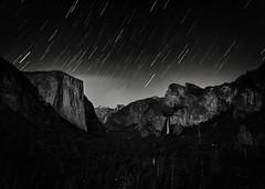 Star Trails above the Valley (flopper) Tags: tree night star valley yosemite halfdome yosemitenationalpark bridalveil tranquilscene tunnelview startrail elcaptain