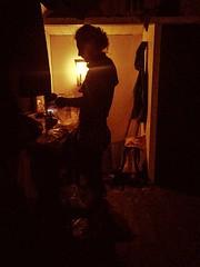 Candlelit oatmeal at the Roebuck Hut (ma vie en rouge) Tags: newzealand breakfast hut marlborough candlelit susi thruhike noelectricity teararoa mountrichmondforestpark newzealandhuts roebuckhut