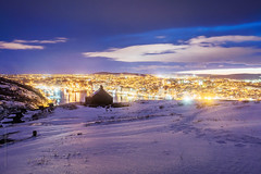night light at the harbour, St. John's (tuanland) Tags: lighting city winter panorama cloud snow canada skyline night newfoundland evening twilight nikon scenery downtown cityscape waterfront harbour dusk hill stjohns bluehour signalhill nfld atlanticcanada d600 stjohnsharbour newfoundlandandlabrador downtownstjohns nikond600