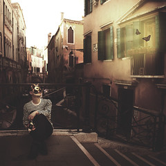 The Other Half (Simon McCheung) Tags: venice summer italy love vintage lost sadness canal other waiting mask roman butterflies half romantic concept conceptual selfie