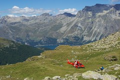 improvised helipad (Riex) Tags: rescue mountains alps alpes landscape schweiz switzerland suisse medical helicopter svizzera paysage a100 engadine montagnes rega firstaid amount helicoptere graubnden grisons graubunden premierssecours sal1680z secouristes minoltaamount carlzeisssonyf35451680mm variosonnartdt35451680