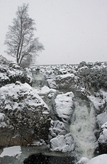 Snow, Rocks and a Waterfall. And a Tree. (Adrian Walker.) Tags: bw canon river scotland rocks waterfalls elements glencoe tamron monocrome kingshousehotel 60d koodfilters eltivmor