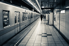IMGP6859-2.jpg (PenTex) Tags: city blackandwhite monochrome japan train underground subway tokyo publictransportation perspective tunnel trainstation subwaystation