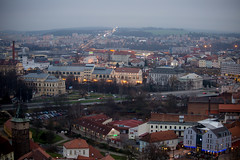 To The East (Katka S.) Tags: from road above christmas street old city panorama west architecture night evening republic czech bohemia plze