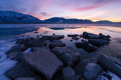 Calm Winter Sunrise***EXPLORE*** (Adam's Attempt (at a good photo)) Tags: morning snow mountains reflection ice water colors clouds sunrise reflections harbor frozen utah nikon colorful cloudy cement earlymorning wideangle calm steam tokina utahlake wetfeet boatharbor mounttimpanogos utahsnow colorfulsunrise lr5 d7000 americanforkboatharbor calmwintersunrise