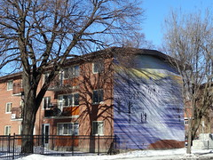 Mural in Montreal on Boulevard de Maisonneuve (chibeba) Tags: city winter vacation urban holiday canada montral quebec montreal january northamerica qc 2016 citybreak
