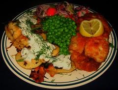 Baked Walleye & Cottage Cheese Perogies (ezigarlick) Tags: food fish dill salad lemon manitoba homecooking perogies walleye baked sourcream cottagecheese pickerel greenpeas panfried perogys