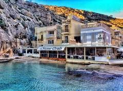 Gozo, Xlendi. (cherylkerkin) Tags: bay coast rocky coastline gozo xlendi rockycoastline sunsetoverthebay stonecrabrestaurant