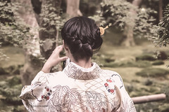 Kimono Girl in Forest (foto99) Tags: camera trees woman nature girl japan forest japanese back maple kyoto bamboo kimono elegant braid
