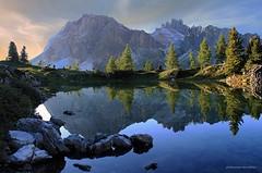 Dolomiti - Il lago Limides (giovannispina31) Tags: italien sunset sky italy lake mountains cortina clouds montagne dawn see twilight tramonto nuvole unesco cielo his italie dolomiti afterglow veneto falzarego lagazuoi platinumheartaward colgallina