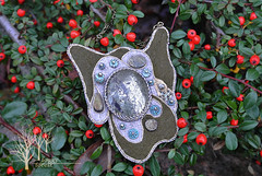 The Wanderer pendant (~Gilven~) Tags: green beads handmade linen embroidery silk jewelry bead pearl swarovski beading pendant pyrite chalcopyrite beadembroidery japanesebeads foggyforest swarovskipearl