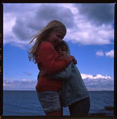 Big Sister Little Brother (LunaliteSBC) Tags: 6x6 film beach fuji melbourne slide victoria slidefilm bronica transparency bayside filmcamera nikkor halfmoonbay oldcamera fujivelvia50 bronicas2a oldlens nikkor75mm filmphotographyproject
