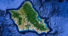 Hawaiian Island of Oahu (Victor Wong (sfe-co2)) Tags: ocean travel blue sea summer vacation sky people usa white holiday green tourism beach nature water beautiful illustration america landscape island hawaii polynesia islands bay coast sand paradise graphic state pacific symbol waikiki oahu outdoor map background united lifestyle maui tourist resort exotic american cartography kauai hawaiian tropical honolulu vector aloha tropics lanai molokai destinations