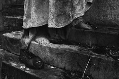 (Malykhanov) Tags: light blackandwhite bw black monument monochrome cemetery rain dark foot death blackwhite headstone leg gothic atmosphere silence footwear sevastopol crimea mystic mysticism