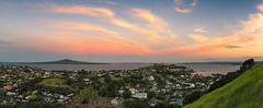 Turning Down The Lights (duncan_mclean) Tags: sky panorama landscape island evening twilight village vibrant pano auckland redsky devonport rangitoto aucklandcity mountvictoria postsunset