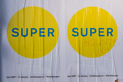 Super (Gary Kinsman) Tags: 2 two london texture advertising poster graffiti pair super advert repetition petshopboys flyposter nottinghill defaced w11 creases 2016 talbotroad fujifilmx100t fujix100t superhoundsw11