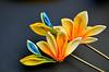 bird of paradise 06 (Bright Wish Kanzashi) Tags: flower yellow handmade silk exotic birdofparadise tsumami cadmium kanzashi customdesign zaiku