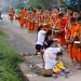 Side street in Luang Prabang, Laos (Tak Bat morning alms collecting procession)