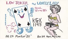 New Moon #4: Low Joker & Lonely Lady - Hope, Kansas (73sand88s by Cardboard America) Tags: playing radio vintage crying card bikini kansas qsl cb newmoon playingcard cbradio qslcard