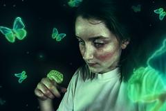 New Beginnings (Allison Coles) Tags: green girl night butterfly dark glow bugs caterpillar bioluminescence surrealphotography conceptualphotography allisoncolesphotography