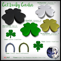 Get lucky gacha out now! (Selene / Selenophilia) Tags: irish silver pose gold necklace couple peace seat charm chain solo single luck lucky bracelet horseshoe clover pouf poses luckoftheirish 4leafclover gacha potogold getlucky 3leafclover selenophilia