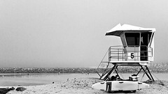 02468929-75-Lifeguard Tower Number 5 on a Foggy day Ocean Beach-1-B&W (Jim There's things half in shadow and in light) Tags: california blackandwhite landscape spring sandiego jetty pacificocean oceanbeach april lifeguardtower 2016 canon70200lens canon5dmarkiii