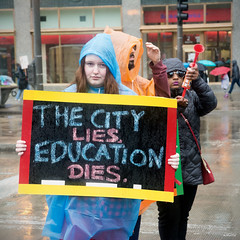 The City Lies, Education Dies (Andy Marfia) Tags: chicago sign iso800 march loop candid rally protest michiganave strike teachers f5 ctu 160sec d7100 1685mm chicagoteachersunion