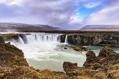 Iceland - Big Chill Adventures (CampusCircleMedia) Tags: travel summer sky people cliff cloud cold nature wet water colors rock fog river landscape outdoors waterfall iceland moss long exposure time no failure group smooth large objects scene panoramic falls spray countries fantasy environment nordic lichen flowing relaxation majestic vacations tranquil cloudscape variation freshness purity godafoss destinations
