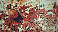 Well Weathered (Mark.L.Sutherland) Tags: cameraphone old light italy orange texture truck circle paint cellphone samsung smartphone forgotten tuscany round vehicle damaged sutherland toscane decaying cracking indicator perished tigercub cascianaterme tigrotto phoneography wellweathered androidography galaxys5