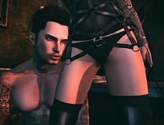 Peace (Scarlett Rhea - Bad Apple) Tags: boy sunset leather vintage harness kneeling domme femdom submissive