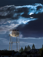 Moon & Tower (mikeSF_) Tags: california county city moon tower water night landscape twilight tank pentax cloudy watertower full 300mm brentwood 67 m300 contracosta 94513 mikeoria