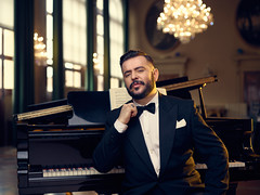 Opera Singer editorial (Giovanni Gori) Tags: lighting street city blue light portrait urban mediumformat photography theater italia photographer style location bologna editorial cinematography cinematic ritratto metropolitan baritone elinchrom phaseone teatrocomunale baritono strobist giovannigori