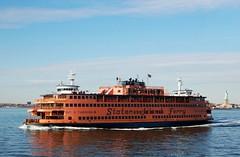Staten Island Ferry (Tatyana2016) Tags: ocean nyc sea orange newyork nature water ferry boat nikon ship landmarks statueofliberty statenisland dslr statenislandferry