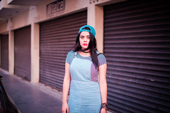 (Isai Alvarado) Tags: street pink light portrait urban woman cinema blur hot cute sexy film girl fashion movie 50mm glasses daylight hall model nikon focus dof bokeh ceci stock cine lips cap cecilia lovely cinematic eyebrows alvarado softlight d800 50mmf14g fotografia alvarado isai