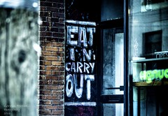 Eat in Carry Out (G. Maxwell) Tags: food signs toronto ontario places olympus zuiko queenstreet streetscenes em1 2016 olym75mmf18