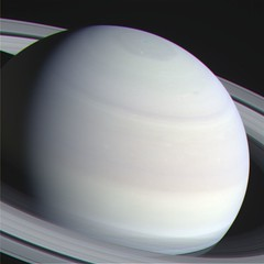 """True"" Color Saturn (sjrankin) Tags: clouds edited nasa rings colorized hexagon saturn rgb cassini 25april2016"