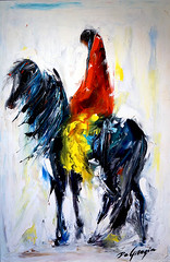 """DeGrazia's """"Winds From the East"""" (DeGrazia Gallery in the Sun) Tags: arizona horse woman ted architecture artist gallery desert artgallery tucson windy az adobe horseback degrazia catalinas reproductions ettore nationalhistoricdistrict galleryinthesun windsfromtheeast"""