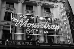 image (Kathi Huidobro) Tags: urban bw london architecture blackwhite neon theatre signage mousetrap westend neonsigns agathachristie theatreland themousetrap londontheatre