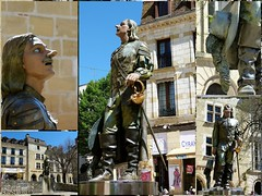 Cyrano de Bergerac (brigeham34) Tags: france statue faades eu dordogne visite bergerac vieilleville aquitaine ruelles cyranodebergerac terrasses promeneurs maisonscolombages maurocorda placeplissire fz45