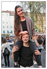 couple @ sunset (piktorio) Tags: street boy sunset people berlin girl kreuzberg germany hair fun friend happiness shoulders labourday carrying streetparty 1mai firstofmay myfest piktorio