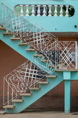 Dnde est el perro? (JAMPhotoChicago) Tags: street city blue light dog color detail home vintage iron stair balcony cuba cement entrance rail historic step porch trinidad ornate balustrade