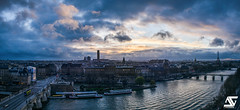 Rive gauche - Pont des Arts (A.G. Photographe) Tags: sunset panorama paris france french nikon europe tour cloudy eiffeltower toureiffel ag capitale nikkor montparnasse franais rivegauche parisian pontneuf coucherdesoleil anto bateauxmouches pontdesarts institutdefrance xiii parisien nuageux 2470 vedettesdupontneuf d810 antoxiii agphotographe