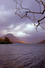 a murky day in wasdale (Ron Layters) Tags: wastwater lake clouds badweather light tree rain middlefell yewbarrow waves ripples winter lakedistrict wasdale cumbria mountain hill lakedistrictnationalpark england slidefilmthenscanned slide transparency fujichrome velvia leica r62 leicar62 ronlayters highestpositioninexplore54onthursdayjanuary142016 explore interesting 5k 10k 20k 25k explored