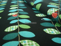 Lovely Apple Vine Green in Black - EK-QS38153A (ikoplus) Tags: black green apple quilt sewing vine fabric commercial kawaii planet lovely dots suppliers ikoplusfabric ekqs38153a