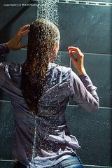 Bibi soaked in her jeans (Wet and Messy Photography) Tags: woman wet girl shower blouse jeans bibi blazer wethair soaked wetlook wetclothes wetjeans