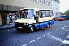 "Pennine Blue D848 LND ""Ermintrude"" (SelmerOrSelnec) Tags: bus dodge ashtonunderlyne minibus babyblue ermintrude gmbuses northerncounties s56 pennineblue warringtonstreet d848lnd"