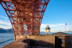 Fort Point under the bridge (Grant Groberg) Tags: sanfrancisco sky lighthouse structure goldengatebridge underside fortpoint bracing truss goeometric