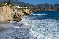 Beach fun (1/3) (Kym.) Tags: sea people beach walking fun spain walk andalusia nerja andalucia