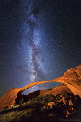 "Milky Way over Landscape Arch (IronRodArt - Royce Bair (""Star Shooter"")) Tags: lightpainting night stars nightscape nightsky archesnationalpark heavens universe milkyway landscapearch starrynightsky"