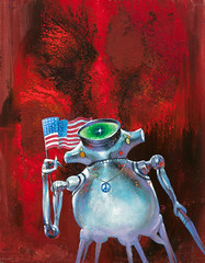 This is My Country, Galaxy Magazine cover, February 1971 by Jack Gaughan (Tom Simpson) Tags: art illustration america vintage painting robot 1971 artwork flag americanflag cover scifi sciencefiction 1970s jackgaughan thisismycountry galaxymagazine